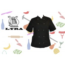 Jacket cook linen black double-breasted