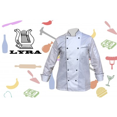 Jacket chef white profile black double-breasted